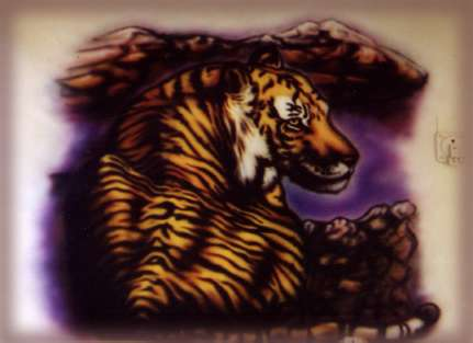 Please be patient while this image loads. It is a sample of a tiger on a motor home.