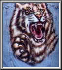 Tiger on denim jacket